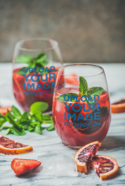 Mockup of Two Bulked Wine Glasses Featuring Grapefruit Slices 36825-r-el2