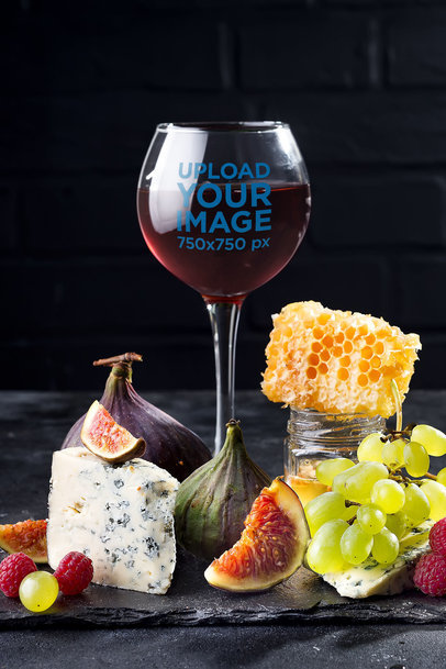 Mockup of a Wine Glass Featuring a Refined Selection of Berries and Cheese 36846-r-el2