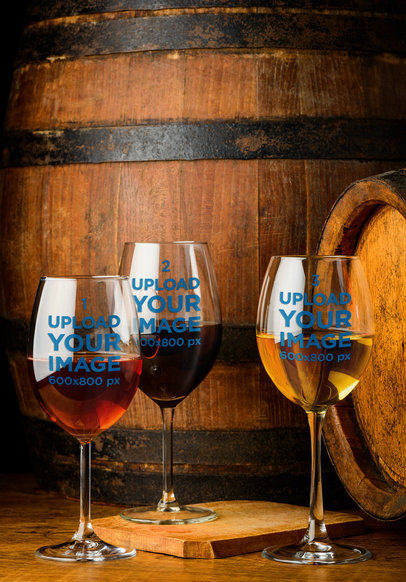 Mockup of Three Wine Glasses by Wooden Barrels 36600-r-el2