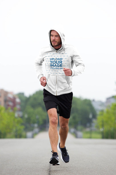 Heathered Full-Zip Hoodie Mockup of a Fit Man Jogging Outside 34082-r-el2