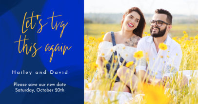 Facebook Post Generator for a Re-Scheduled Wedding Announcement 2584i