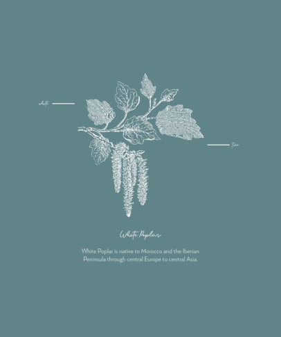 Botanical T-Shirt Design Template Featuring a Vintage Engraved Illustration 1661e-el1