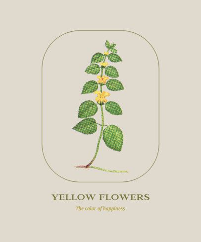 Minimal T-Shirt Design Generator Featuring an Illustrated  Plant With Flowers 1658e-el1