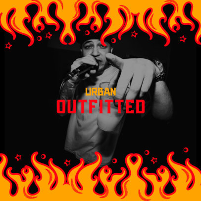 Mixtape Cover Maker for a Rapper Featuring Flame Graphics 2596d