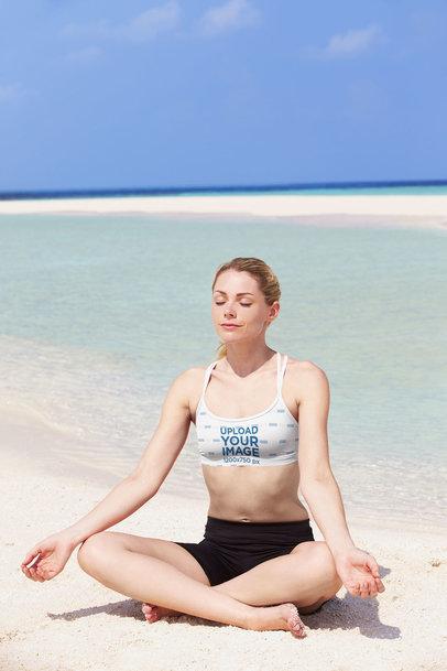 Sports Bra Mockup of a Woman Meditating at the Beach 34465-r-el2