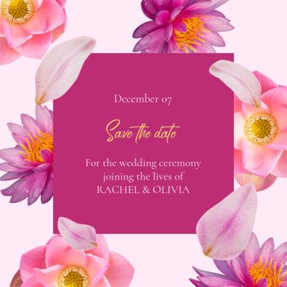 Floral Instagram Post Maker for an Online Wedding Date Announcement 2583e
