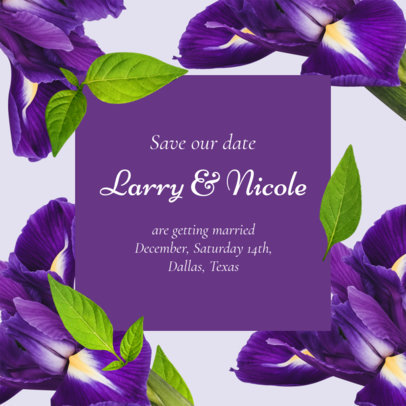 Wedding Instagram Post Generator Featuring Purple Flower Graphics 2583f
