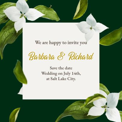 Instagram Post Maker with a Floral Theme for a Wedding Announcement 2583b