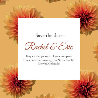 Instagram Post Template Featuring a Floral Wedding Invitation 2583h