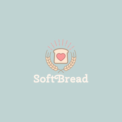 Bakery Logo Template Featuring a Bread Slice with a Heart 1860d-el1