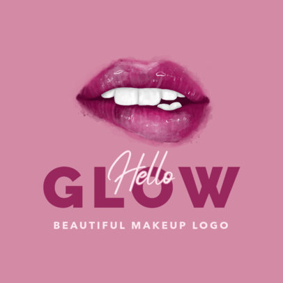 Makeup Logo Generator Featuring Glossy Lips Clipart 3318b