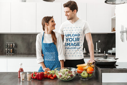 Apron and T-Shirt Mockup Featuring a Couple Making Dinner 34431-r-el2
