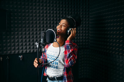 T-Shirt Mockup of a Woman in a Recording Studio 36935-r-el2