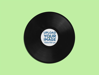 Minimal Mockup of a Vinyl Record Against a Plain Color Background 4538-el1