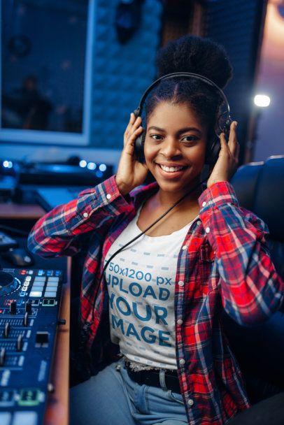 T-Shirt Mockup Featuring a DJ with Headphones 36968-r-el2