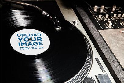 Vinyl Record Mockup Featuring a DJ's Console 4529-el1