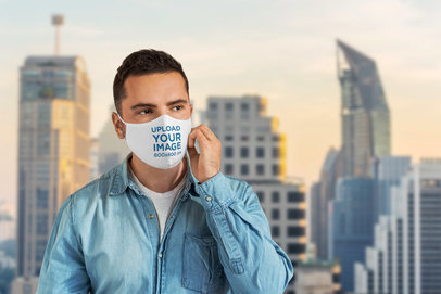 Face Mask Mockup Featuring a Man Against a City Background 4565-el1