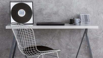 Vinyl Record Mockup Featuring a Modern Work Desk 36951-r-el2