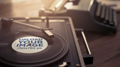 Mockup of a Small Vinyl on a Turntable 36908-r-el2