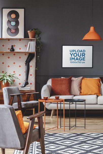 Mockup of a Horizontal Art Print Hanging on a Black Wall 36958-r-el2