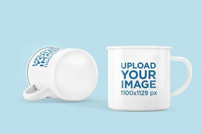 Mockup Featuring Two Enamel Mugs Placed on a Colored Surface 4500-el1