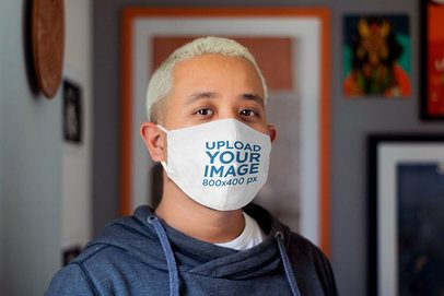 Mockup of a Man Using a Face Mask at Home 4567-el1