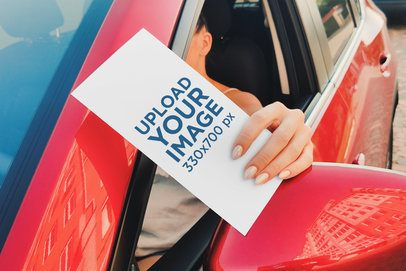 Mockup of a Woman Holding a Flyer in Her Car Window 4506-el1