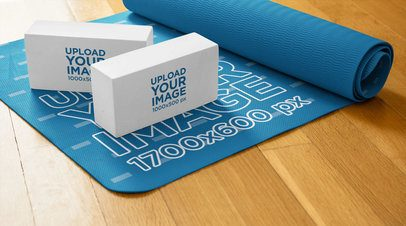 Mockup of Two Yoga Blocks over an Exercise Mat 37080-r-el2