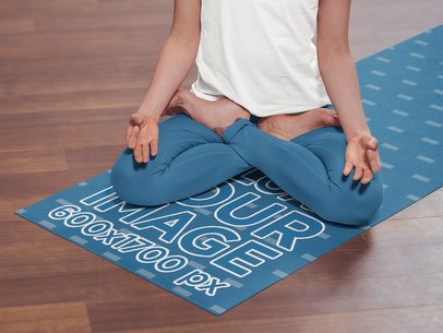Yoga Mat Mockup Featuring a Woman Meditating 37091-r-el2