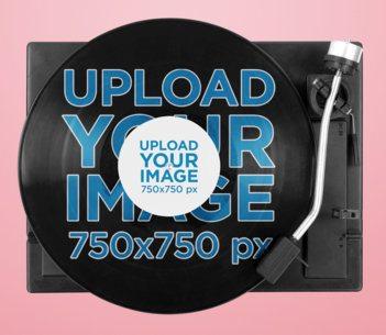Mockup of a Vinyl Record on a Record Player 37196-r-el2