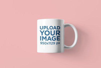 Mockup Featuring a Customizable 11 oz Coffee Mug Over a Colored Surface 4491-el1