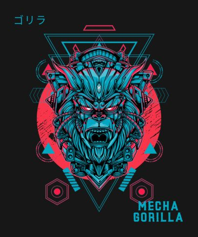 Illustrated T-Shirt Design Template Featuring a Sci-Fi Gorilla 1792f-el1