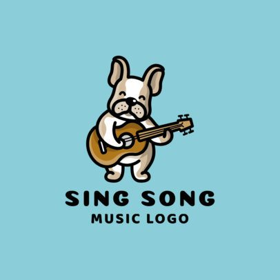 Kids' Music School Logo Maker Featuring a Puppy Playing Guitar 1773a-el1