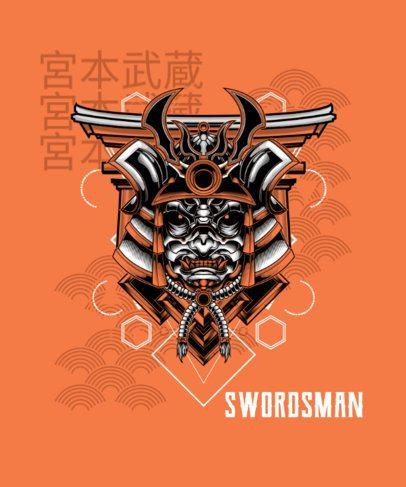 T-Shirt Design Generator with an Evil Swordsman Mask 1827c-el1