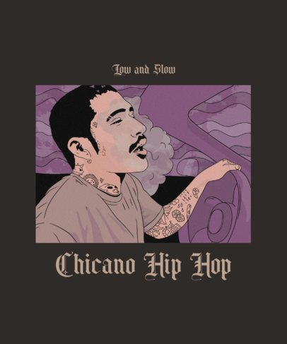 Illustrated Hip Hop T-Shirt Design Template with a Chicano Character 2606i