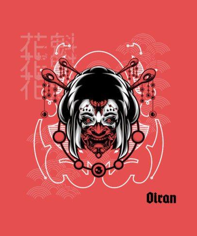 T-Shirt Design Creator Featuring a Japanese Demon Woman 1827m-el1