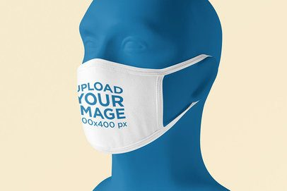 Face Mask Mockup Featuring a Mannequin Against a Customizable Background 4570-el1