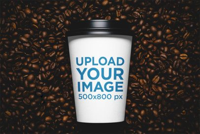 Mockup of a Customizable Paper Cup Surrounded by Coffee Beans 36650-r-el2