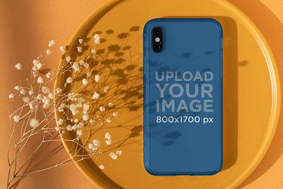 Mockup of a Clear Phone Case Featuring a Monochromatic Background 4603-el1
