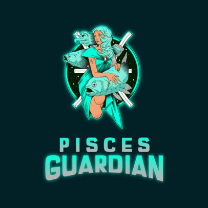 Gaming Logo Maker Featuring a Guardian of the Pisces Sign 3348c