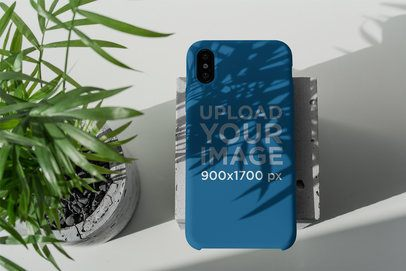Mockup of a Phone Case Under a Plant's Shadow 4622-el1