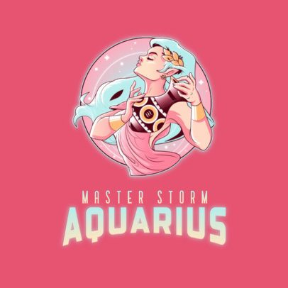 Logo Creator Inspired by the Aquarius Sign Featuring a Mystic Character 3348f
