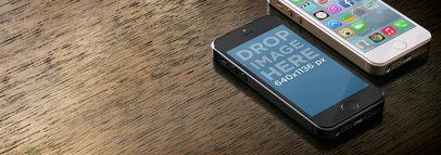 Multistage Apple iPhone 5s Black Portrait Vs iPhone Gold Portrait On Wooden Surface Wide