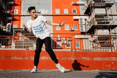 Mockup of a Breakdancer Wearing a T-Shirt on the Street 37677-r-el2