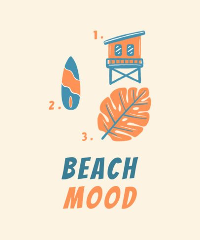 Summer T-Shirt Design Template Featuring Beach-Themed Icons 1878b-el1