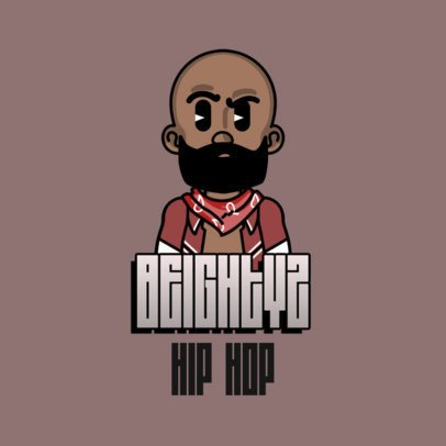 Logo Template for Rappers Featuring a Bearded Avatar 3331k