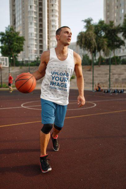 Tank Top Mockup of a Man Playing Basketball 37480-r-el2