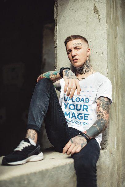V-Neck T-Shirt Mockup of a Tattooed Man Posing 37523-r-el2