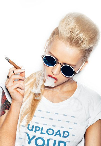 T-Shirt Mockup of a Woman Smoking 37500-r-el2