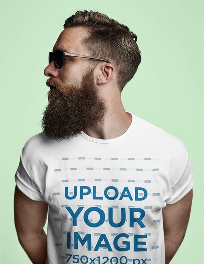 T-Shirt Mockup Featuring a Hipster Man in a Studio 37447-r-el2